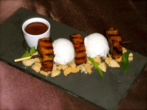 grilled Nayarit pineapple and coconut sorbet skewer